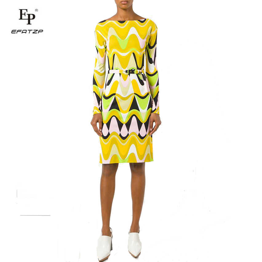 e540a35dab9 Новинка 2018 г. осенние модные дизайнерские платье Для женщин одежда с  длинным рукавом желтый геометрический