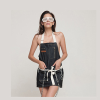 1pcs 70 60cm Unisex Kitchen Apron Solid Denim Pocket Cooking Aprons Kit Bib Restaurant Home Short