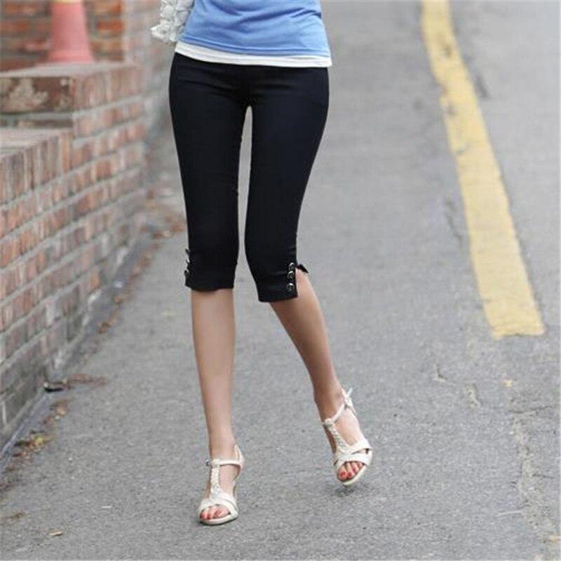 Women Summer Plus Size Pantalons Oversize Slim Stretch Thin   Pants   Female Leggings Trousers Fall Skinny Knee Length Pencil   Capris