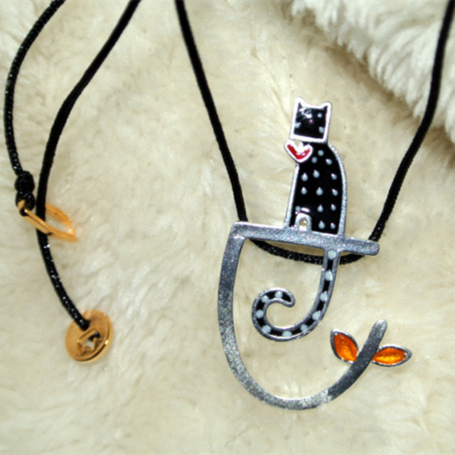 Original 925 prata esterlina colar gato preto relógio na filial pingente mulheres moda jóias colares pingente