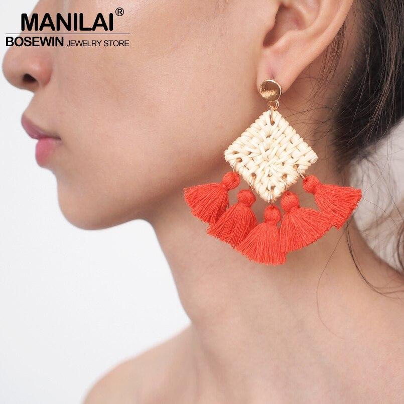 Bohemian Ethnic Tassel Dangle Earring Colorful Wool Ball Long Pendant Drop Earring Statement Jewelry
