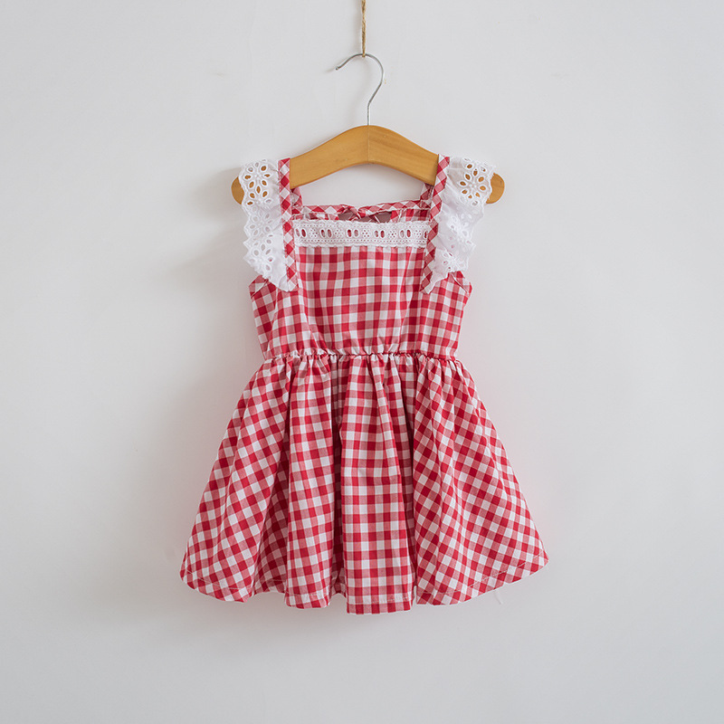 2016 Summer New Baby Girl Lace Sleeve Party Dress Children Princess Dresses 2-10Y Girls Plaid Dress Kids Clothes Blue Red hot sale summer 2016 girl dress princess girls dress baby kids clothes long sleeve lace dresses wedding party children clothing