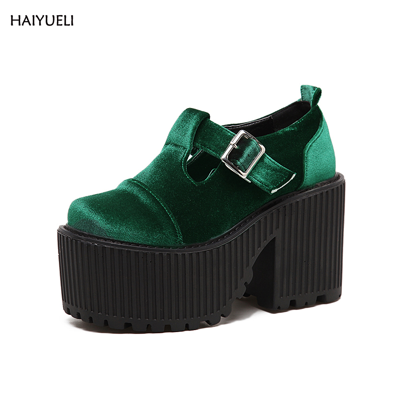 2017 new velvet high quality fashion Punk Rock platform heeled shoes women Ankle boots Thick heels black Wine red green shoes professional customize 17cm platform high heeled stiletto stage shoes fashion strap boots black strappy ankle boots