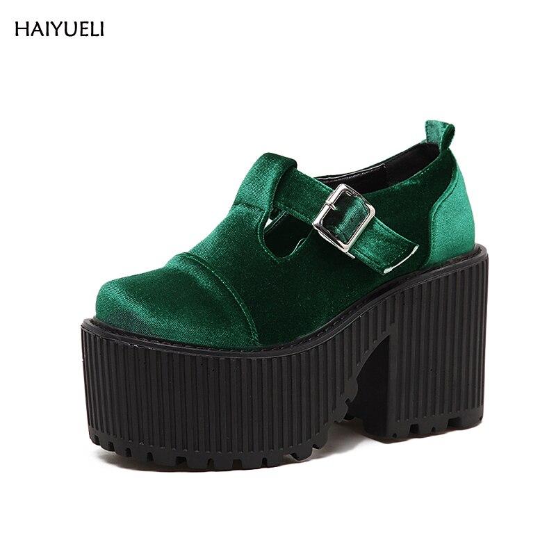 2017 nuovo di velluto di alta qualità di modo Punk Rock piattaforma tacco alto scarpe donna stivaletti tacchi Spessi nero Vino rosso verde scarpe