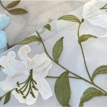 Шторы для гостиной, столовой, спальни, лилии, пряжа, высококачественный тюль, вышивка на окно, экран, корейский стиль, теплая вышивка