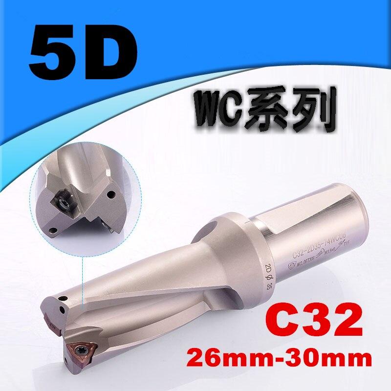 C32 5D U Bohrer 26mm 27mm 28mm 29mm 30mm WC SP Hartmetall wendeschneidplatte Bohrer bits Schnelle Bohren Flacher Loch Werkzeug für Metall-in Bohrkronen aus Werkzeug bei