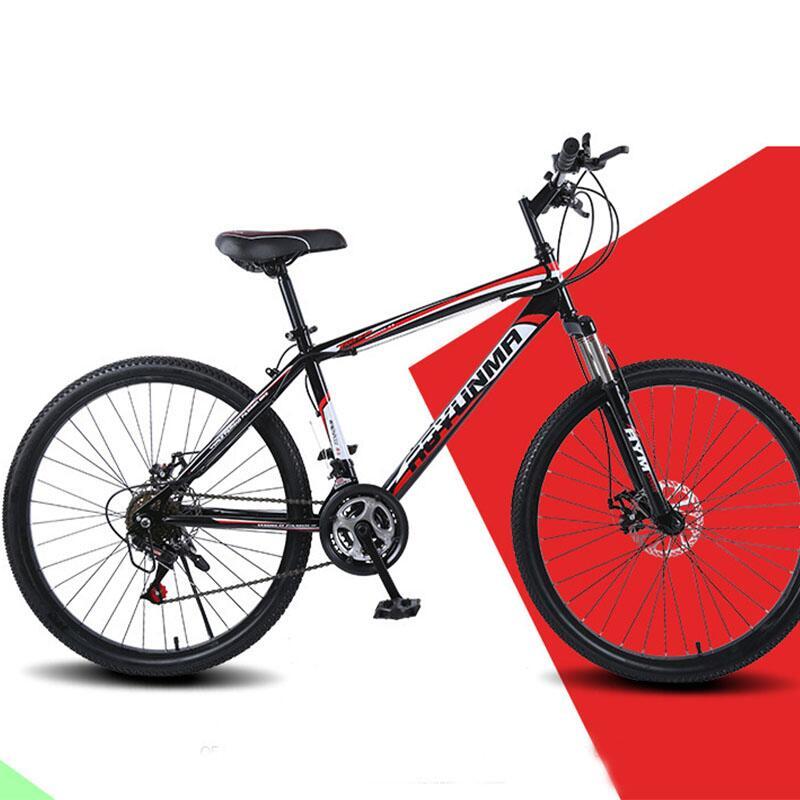Mountain Bicycle 26 Inch Wheel 21 Speed Shock Disc Brakes V Brake Blue Red  Green  Men And Women Bike