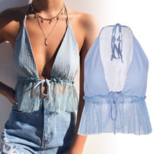 Women Halter Neck Front Chest Strap With Open Skyblue Transparent Gauze Crop Tops Polka Dot Cropped T Shirts Camis(China)