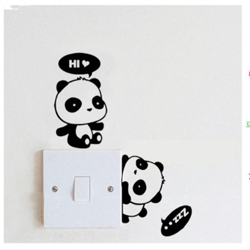 DIY Забавный Cute Panda переключатель Наклейки на стену HI HELLO ZZZ панда украшения дома Спальня салон украшения или подарок для детей