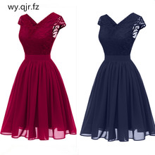 CD1646L#Chiffon V-Neck Lace Pink wine red dark blue Evening