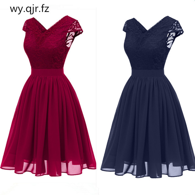 704a2d7f9f CD1646L Chiffon V-Neck Lace Pink wine red dark blue Evening Dresses short  party prom dress girl wholesale fashion women clothing