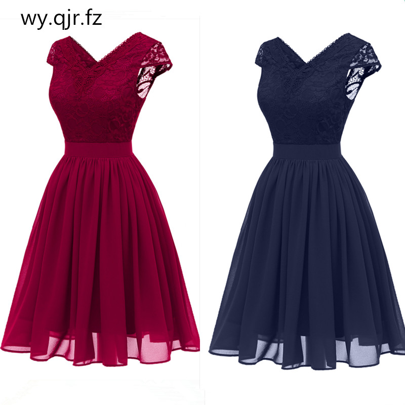 CD1646L#Chiffon V-Neck Lace Pink wine red dark blue   Evening     Dresses   short party prom   dress   girl wholesale fashion women clothing