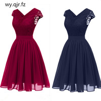 CD1646L#Chiffon V Neck Lace Pink wine red dark blue Evening Dresses short party prom dress girl wholesale fashion women clothing