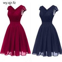 CD1646L # vestido de gasa con escote en V de encaje Rosa vino rojo azul oscuro, vestidos de noche cortos para fiesta, vestido de graduación para chica, venta al por mayor, ropa de mujer a la moda
