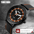 2017 SKMEI Popular Brand Men Watches Fashion Quartz Watch Black Case Wristwatches 50m Waterproof Leather Strap relogio masculino