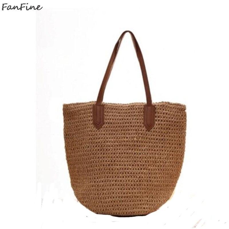 FanFine Women Fashion Designer Lace Handbags Tote Bags Handbag Wicker Rattan Bag Shoulder Bag Shopping Straw Bag