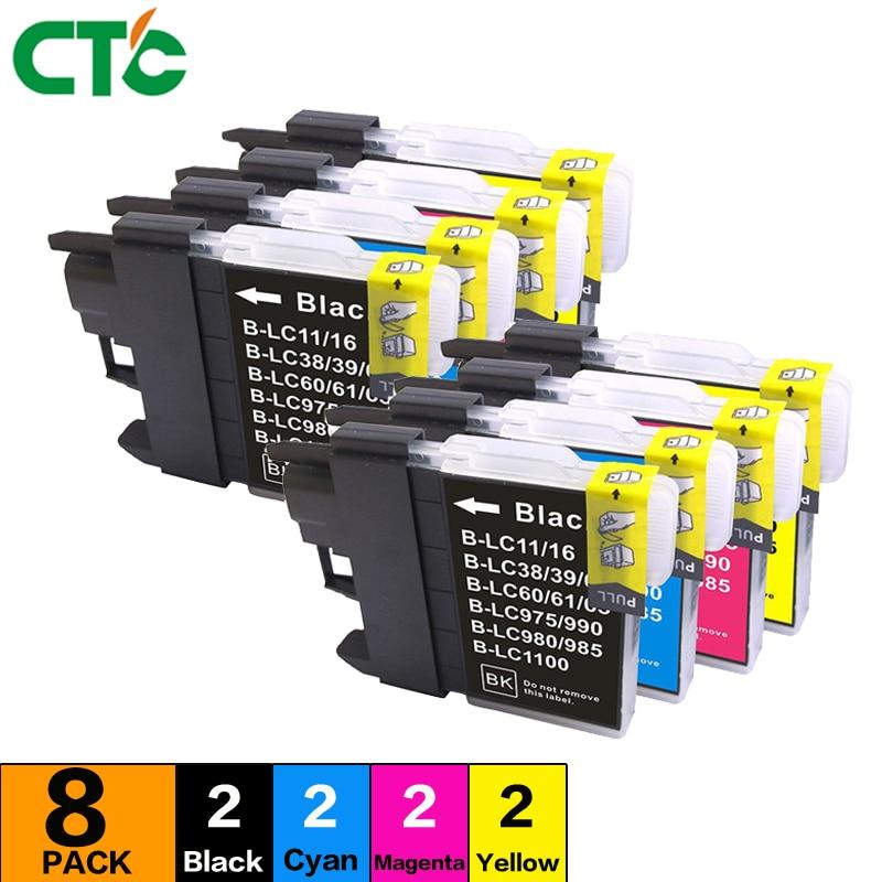 8 LC11 LC16 LC38 LC61 LC65 LC67 LC980 LC990 LC1100 ink cartridge Compatible For Brother DCP-145C 165C 185C 195C 197C 365CN 375CW