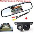 Auto Parking Assistance System Digital TFT LCD Mirror Car Parking  Monitor +Car Reverse Backup Parking Sensor Rearview Camera
