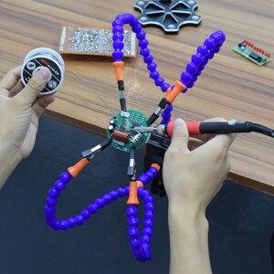Image 5 - NEWACALOX Herramienta de tercera mano, abrazadera de mesa para soldadura, brazo Flexible, pinza de cocodrilo, soporte de placa de circuito impreso, soporte para soldadura