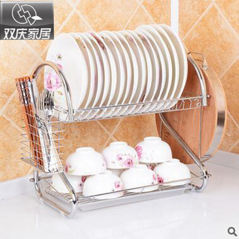 Double Tiers shelf Multi-functional Stype Stainless Steel Dish Rack Kitchen Storage Boxes Dish Drainer Cup Rack Plates holder multi functional stainless steel keychain black 2 pcs