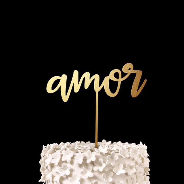 amor cake topper gold wood rustic spanish wedding decor anniversary engagementbridal shower party
