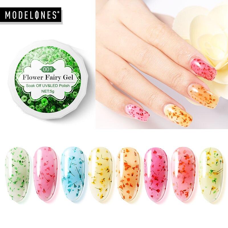 Modelones сухоцветы ногтей гель лак Полупостоянный Гибридный гвоздь Лаки натуральный Цветочные феи UV гель для ногтей 3D цветы УФ гель
