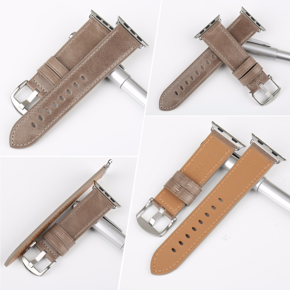 MAIKES Genuine Leather Watch Strap Replacement For Apple Watch Band 42mm 38mm 44mm 40mm Series 4 3 2 1 iWatch Watchbands in Watchbands from Watches