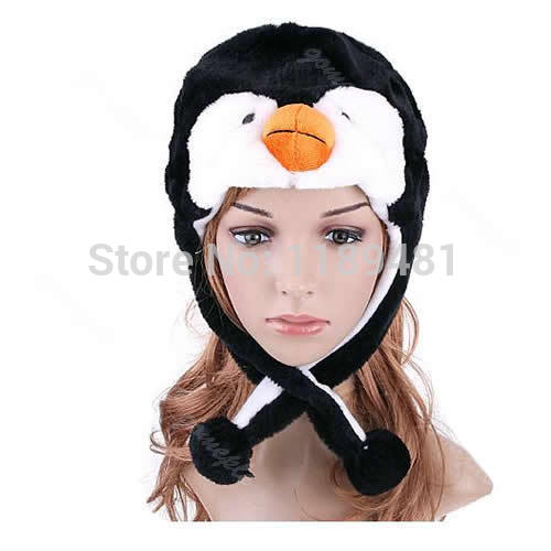 Girls 1PC Cartoon Animal Penguin Plush Warm Hat Women  Cute Mascot Plush Warm Cap Hat Warmer New