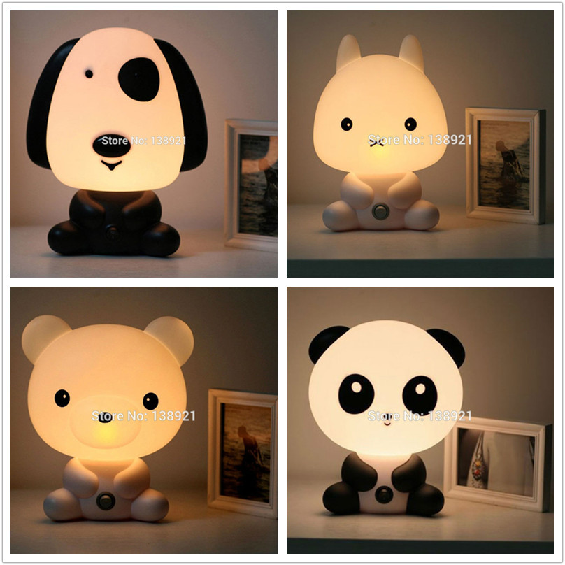 Cute Baby Room Cartoon Night Sleeping Light Kids Bed Lamp Night Sleeping Lamp with Panda/Rabbit/Dog/Bear Shape EU/US Plug top baymax cartoon night light lamp 110v 220v us eu plug baby room led energy saving lamp kids light bedside lamp lighting