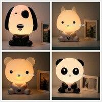 Cute Baby Room Kreskówki Lampa Noc Śpiąca Lampa Światła Nocy Śpi Dzieci Łóżko z Panda/Królik/Pies/niedźwiedź Kształt UE/US Wtyczka