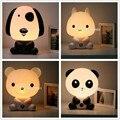 Linda Habitación del Bebé Noche Cartoon Dormir Lámpara de Luz Niños Lámpara de Noche Durmiendo Cama con Panda/Conejo/Perro/la Forma del oso de LA UE/EE.UU. Plug
