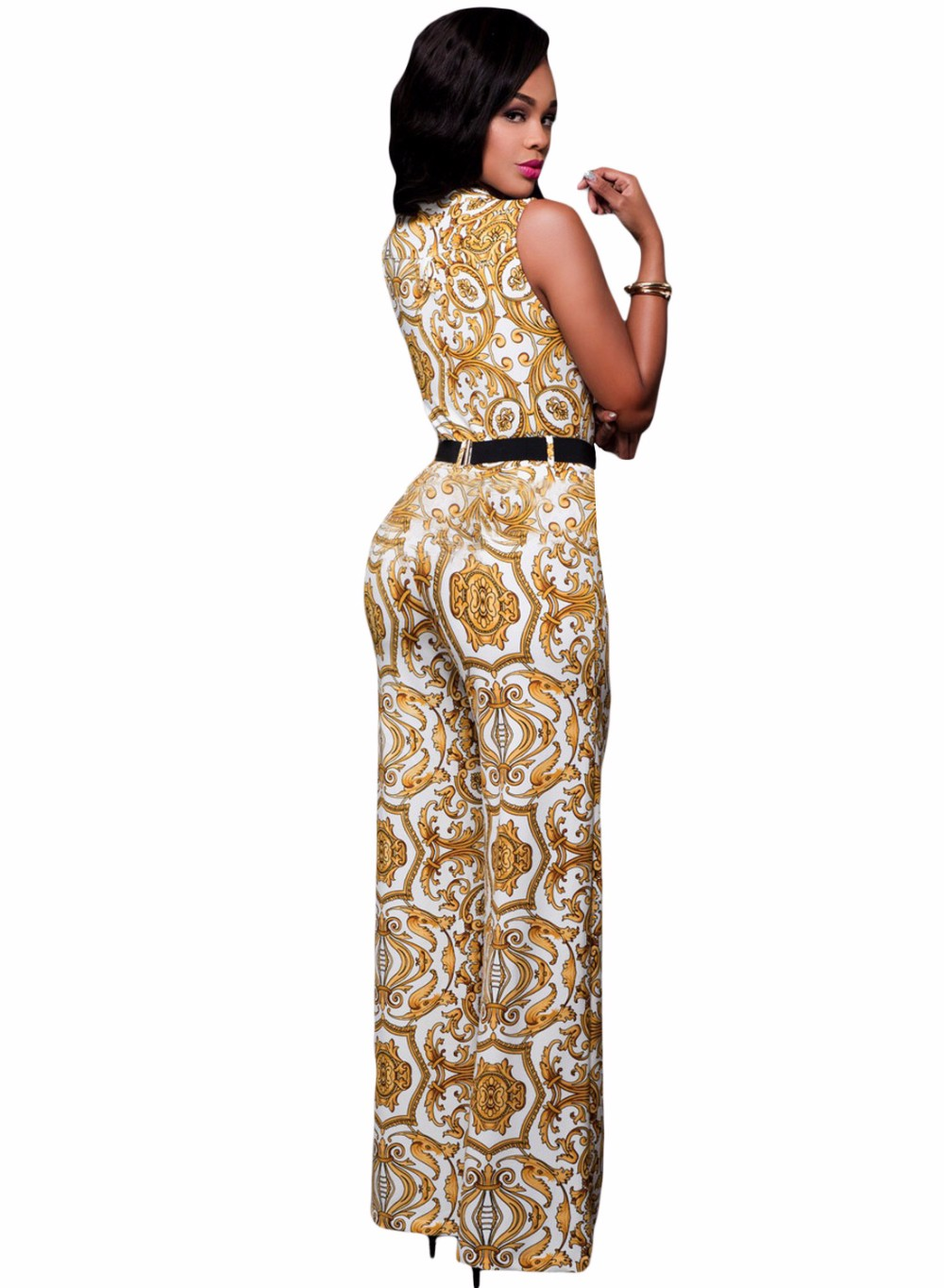 White-Yellow-Tapestry-Print-Belted-Jumpsuit-LC64195-1-3