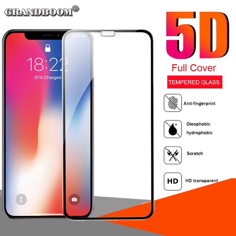 30pcs 5D Curved Edge Tempered Glass Full Covrage For iPhone XS Max XR X 8 7