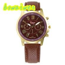 bowaiwen #8006 Woman watch 5 colors New Women's Fashion Roman Numerals Faux Leather Analog Quartz Wrist Watch