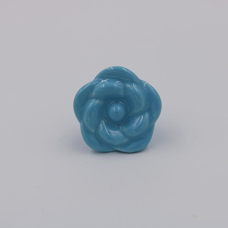 5PCS Light Blue Rose Flower Ceramic Dresser Knobs Drawer Pull ...
