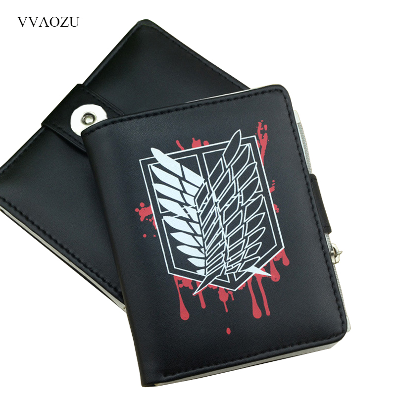 Cartoon Attack on Titan Wallet Shingeki no Kyojin Women Men Short Zipper Coin Purse Card Holder Pocket Small Wallet anime attack on titan men wallets pu leather cartoon short purse with zipper coin pocket gifts teenager dollar price wallet