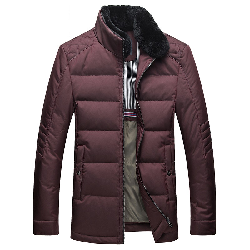 Men's Winter Duck Down Jacket Rex Rabbit Fur Collar Detachable Thick Down Coat Selected Feather Clothing for Men Male 6526 New