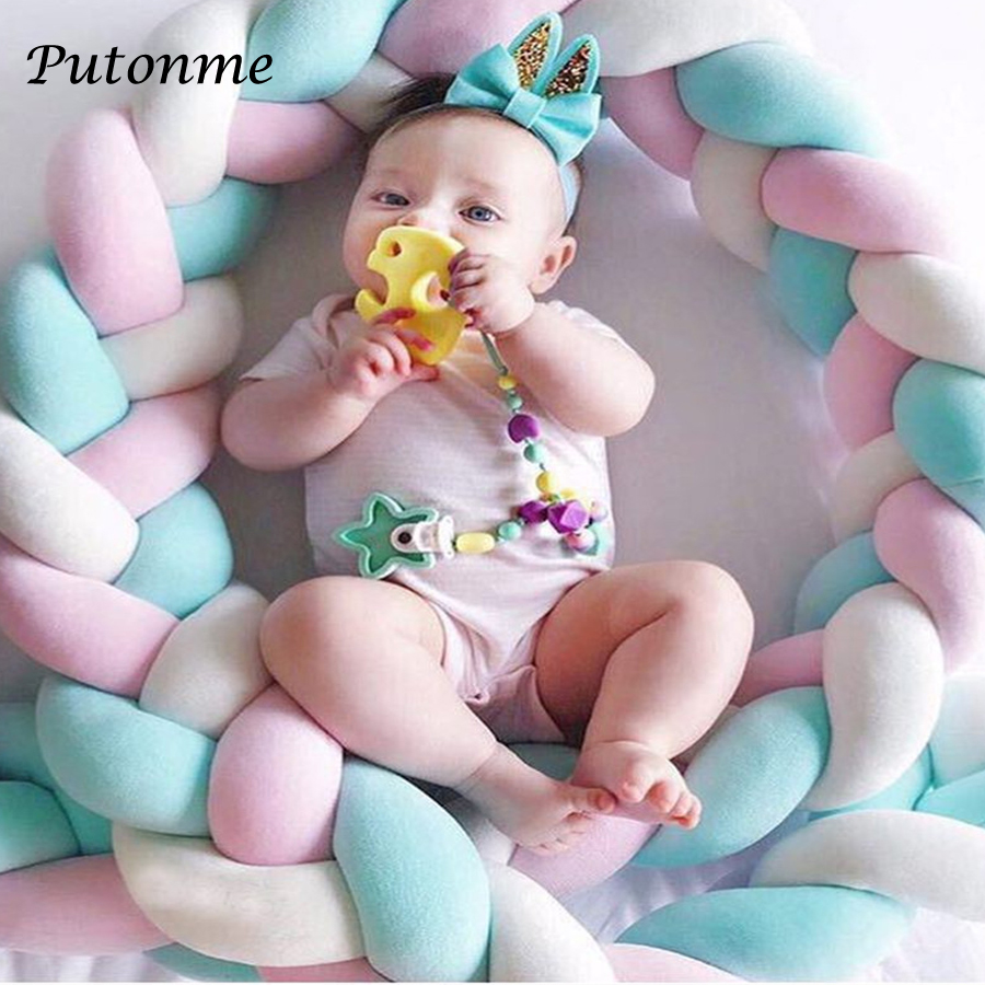 Putonme 78.7'' Length Nodic Knot Newborn Bumper Long Knotted Braid Pillow Baby Bed Bumper in the Crib Infant Room Decor 200cm 2m length nodic knot newborn bumper long knotted braid pillow baby bed bumper in the crib infant room decor