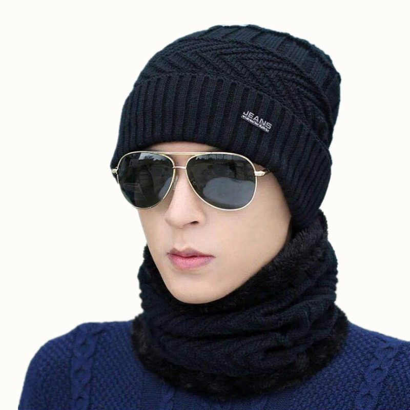 oZyc hot selling 2pcs ski cap and scarf cold warm leather winter hat for women men Knitted hat Bonnet Warm Cap   Skullies     Beanies