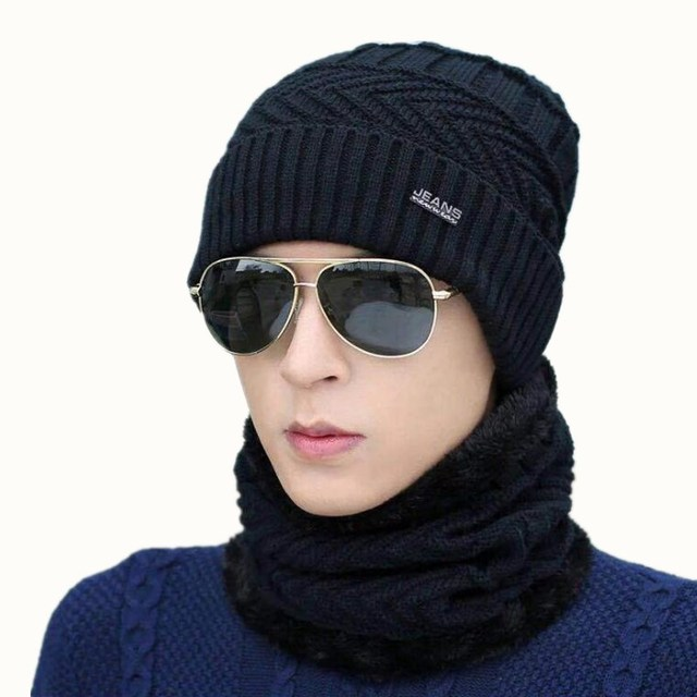 cfa70b96f53 oZyc hot selling 2pcs ski cap and scarf cold warm leather winter hat for women  men