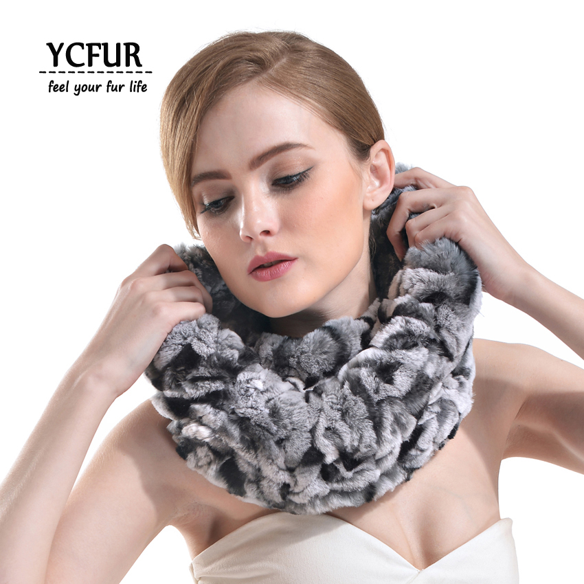 [YCFUR] Fashion Women Ring   Scarves   Winter Knit Strips Rex Rabbit Fur Scarfs   Wraps   Wide Neck Warmer   Scarf   For Women