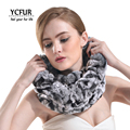YCFUR Mulheres Anel Cachecóis Inverno 2016 Chegada Nova Genuine Rex Rabbit Fur Wraps Inverno Malha Real Rex Rabbit Fur Scarf