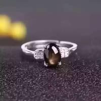 Natural Dark Star Black Sapphire Gem Ring Natural Gemstone Ring 925 Sterling Silver Trendy Elegant Round