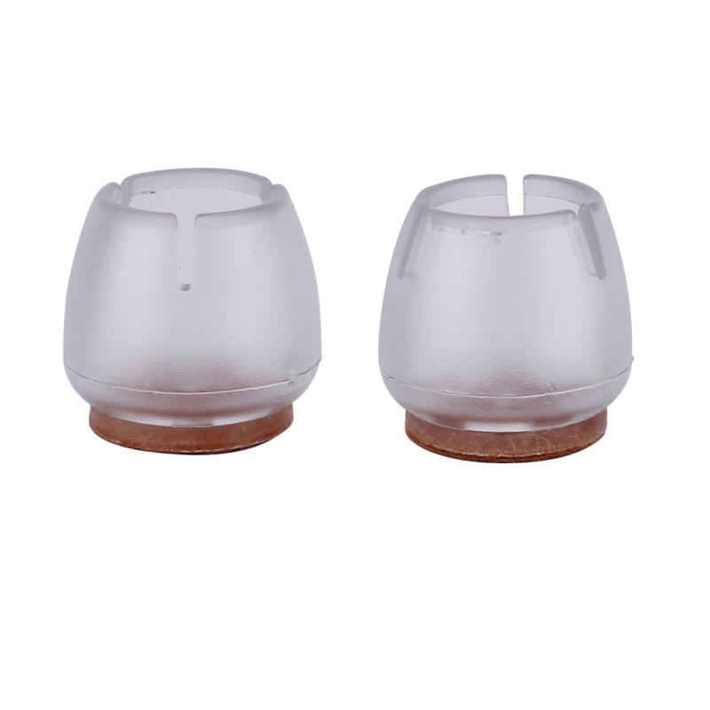16pcs Silicone Chair Leg Caps Cover Feet Pads Furniture Table Wood Floor Protectors Transparent Round Bottom Non-Slip Cups