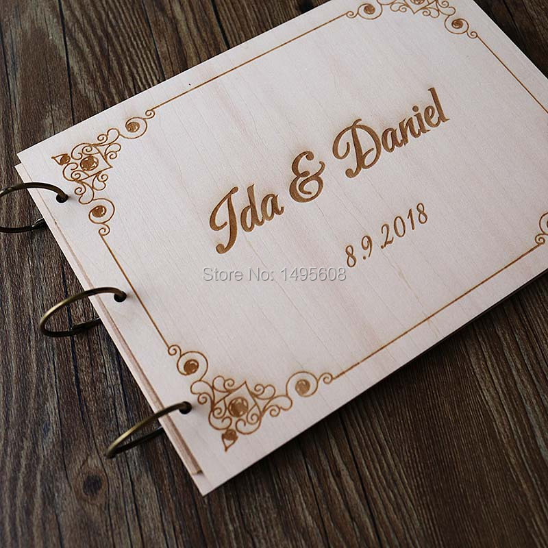 Personalized Wedding Guest Book Modern Wood Guestbook Custom Engagement Anniversary Gift Boho In Photo Als From Home