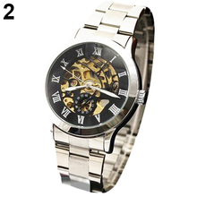 2019 Luxury Men's Roman Numerals Tungsten Steel Mechanical Skeleton Wrist Watch hot Relojes Men Mechanical Watch Men Watch Gift
