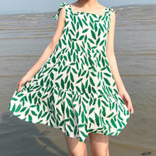 KYMAKUTU Ünnepi Stílus Nyomtatás Sling Dress Női 2018 Nyári Casual A-line magas derék Vestidos Mujer Ujjatlan Strandruhák