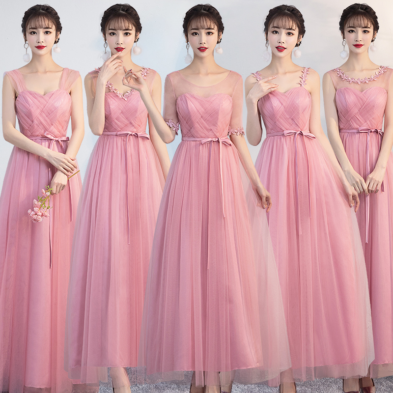 Image 4 - Vestido Azul Marino Sexy Prom Dress Simple Floral Wedding Party Dresses for Women  Bridesmaid Dresses Red Bean Pink  EmpireBridesmaid Dresses   -