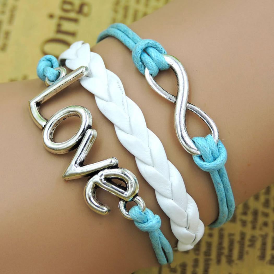 Pattern Women Geometric Multilayer Claw Letter Clasp Braided Lobster Bracelet