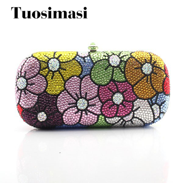 New Arrival Handmade Diamond Women Clutch Flower Design Evening Bags Flower Patterning Crystal Clutch women custom name crystal big diamond clutch full crystal hot selling 2017 new fashion evening bags 1001bg